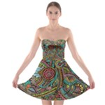 Colorful Hippie Flowers Pattern, zz0103 Strapless Dresses