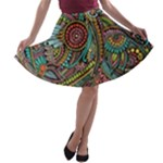 Colorful Hippie Flowers Pattern, zz0103 A-line Skater Skirt