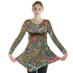 Colorful Hippie Flowers Pattern, zz0103 Long Sleeve Tunic