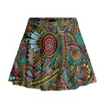 Colorful Hippie Flowers Pattern, zz0103 Mini Flare Skirt