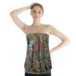Colorful Hippie Flowers Pattern, zz0103 Strapless Top