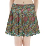 Colorful Hippie Flowers Pattern, zz0103 Pleated Mini Mesh Skirt