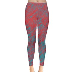 Red And Blue Pattern Leggings  by Valentinaart