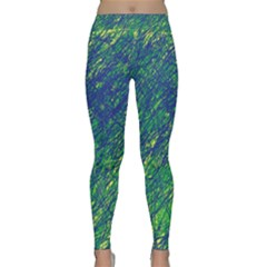 Green Pattern Yoga Leggings  by Valentinaart