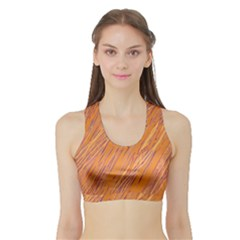 Orange Pattern Sports Bra With Border by Valentinaart
