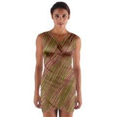 Brown Elegant Pattern Wrap Front Bodycon Dress by Valentinaart
