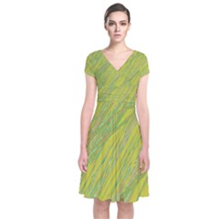 Green And Yellow Van Gogh Pattern Short Sleeve Front Wrap Dress by Valentinaart