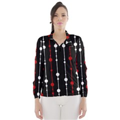 Red Black And White Pattern Wind Breaker (women)