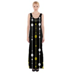 Yellow, Black And White Pattern Maxi Thigh Split Dress by Valentinaart