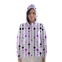 Purple, White And Black Pattern Hooded Wind Breaker (women) by Valentinaart