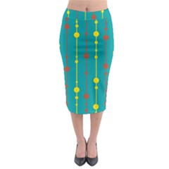 Green, Yellow And Red Pattern Midi Pencil Skirt by Valentinaart
