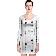 Black And White Elegant Pattern Long Sleeve Bodycon Dress by Valentinaart