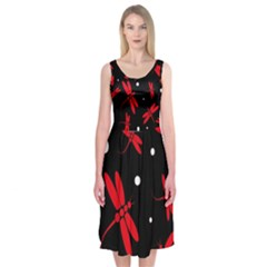 Red, Black And White Dragonflies Midi Sleeveless Dress by Valentinaart