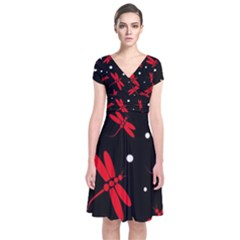 Red, Black And White Dragonflies Short Sleeve Front Wrap Dress