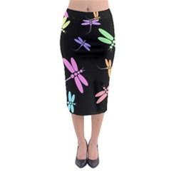 Pastel Dragonflies Midi Pencil Skirt by Valentinaart