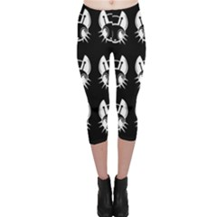 White And Black Fireflies  Capri Leggings  by Valentinaart