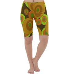 Brown Pattern Cropped Leggings  by Valentinaart