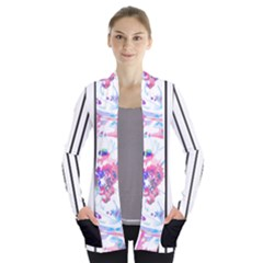 Watercolor1 Women s Open Front Pockets Cardigan(p194) by Wanni