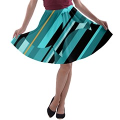 Blue Abstraction A Line Skater Skirt by Valentinaart