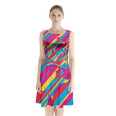 Colorful Summer Pattern Sleeveless Waist Tie Dress by Valentinaart