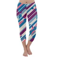 Blue And Pink Pattern Capri Winter Leggings  by Valentinaart