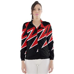Black And Red Simple Design Wind Breaker (women) by Valentinaart
