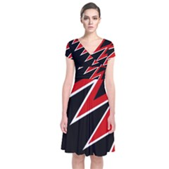 Black And Red Simple Design Short Sleeve Front Wrap Dress