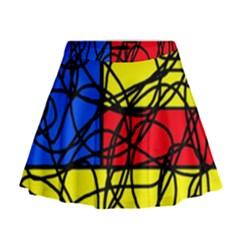 Yellow Abstract Pattern Mini Flare Skirt by Valentinaart