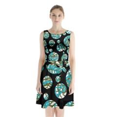 Decorative Blue Abstract Design Sleeveless Waist Tie Dress by Valentinaart