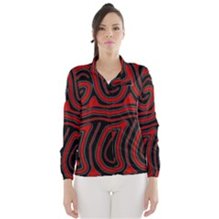Red And Black Abstraction Wind Breaker (women) by Valentinaart