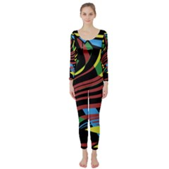 Colorful Decorative Abstrat Design Long Sleeve Catsuit by Valentinaart