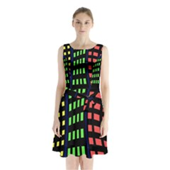 Colorful Abstract City Landscape Sleeveless Waist Tie Dress by Valentinaart