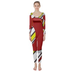 Red And Yellow Design Long Sleeve Catsuit by Valentinaart