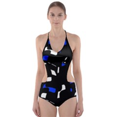Blue, Black And White  Pattern Cut Out One Piece Swimsuit by Valentinaart