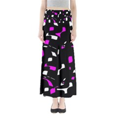 Magenta, Black And White Pattern Maxi Skirts by Valentinaart
