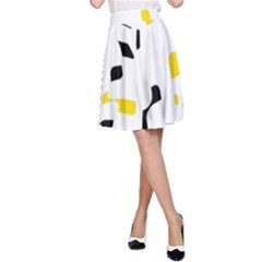 Yellow, Black And White Pattern A Line Skirt by Valentinaart