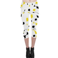 Yellow, Black And White Pattern Capri Leggings  by Valentinaart