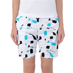 Blue, Black And White Pattern Women s Basketball Shorts by Valentinaart
