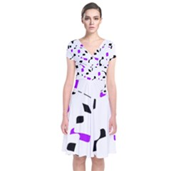 Purple, Black And White Pattern Short Sleeve Front Wrap Dress by Valentinaart