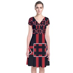 Red And Black Geometric Pattern Short Sleeve Front Wrap Dress by Valentinaart