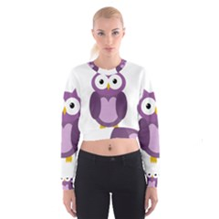 Purple Transparetn Owl Women s Cropped Sweatshirt by Valentinaart