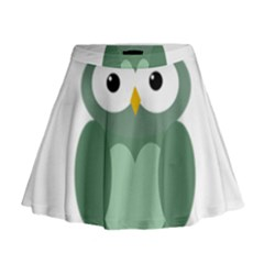 Green Cute Transparent Owl Mini Flare Skirt by Valentinaart
