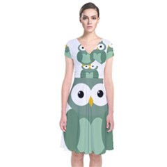 Green Cute Transparent Owl Short Sleeve Front Wrap Dress by Valentinaart