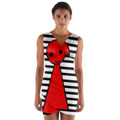 Red Pawn Wrap Front Bodycon Dress by Valentinaart