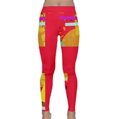 Red Abstraction Yoga Leggings