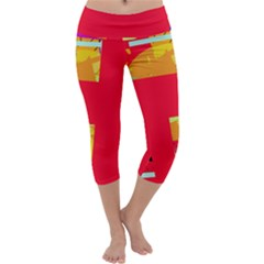 Red Abstraction Capri Yoga Leggings by Valentinaart