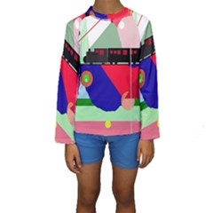 Abstract Train Kid s Long Sleeve Swimwear by Valentinaart