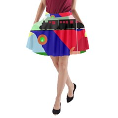 Abstract Train A Line Pocket Skirt by Valentinaart