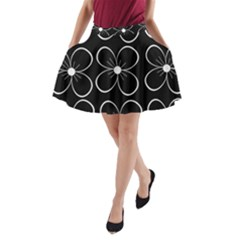 Black And White Floral Pattern A Line Pocket Skirt by Valentinaart