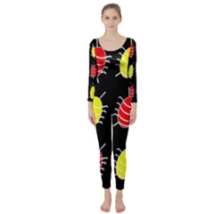 Red And Yellow Bugs Pattern Long Sleeve Catsuit by Valentinaart